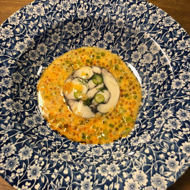 Mosaico de Pulpo en Salsa de Tomatillo